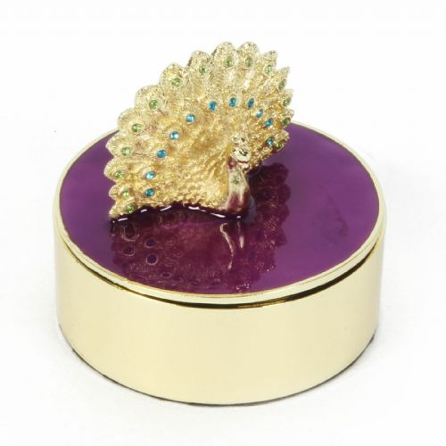 Peacock Design Trinket Jewellery Box - Round Purple and Gold Trinket Box Gift
